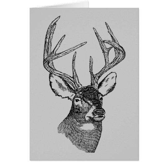 Vintage deer art graphic card