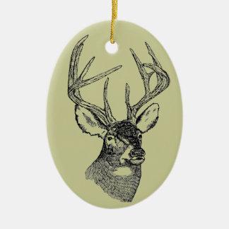 Vintage deer art graphic ceramic ornament