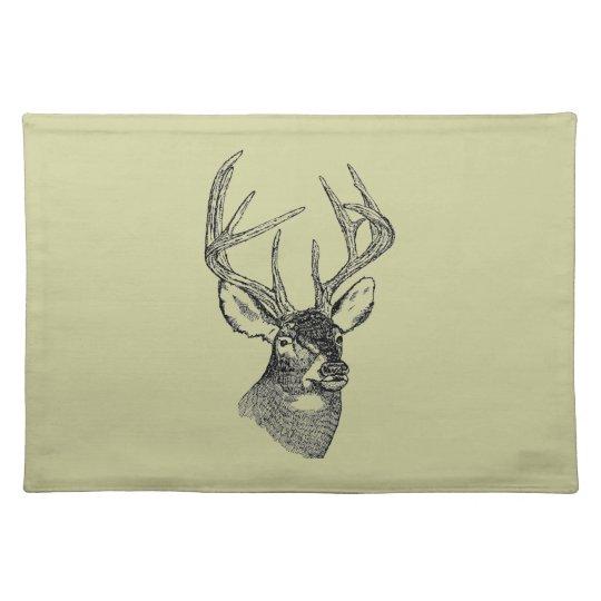 Vintage deer art graphic cloth placemat