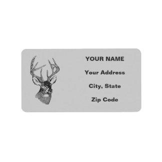 Vintage deer art graphic label