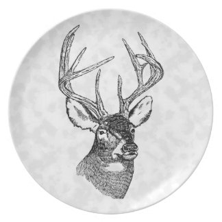 Vintage deer art graphic plate