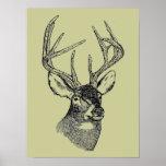 Vintage deer art graphic posters