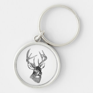 Vintage deer art graphic Silver-Colored round keychain