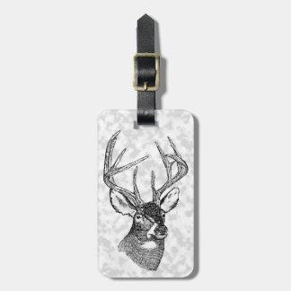 Vintage deer art graphic travel bag tag