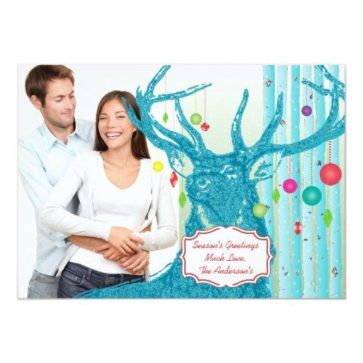Vintage Deer  Birch Tree Photo Christmas Card