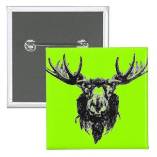 Vintage deer buck stag head antler line drawing pinback button