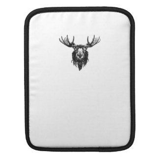 Vintage deer buck stag head antler line drawing iPad sleeve