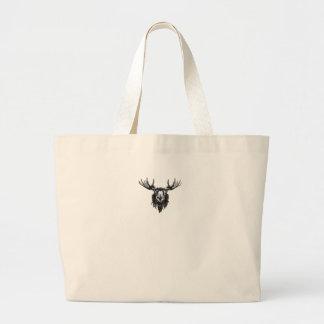 Vintage deer buck stag head antler line drawing large tote bag
