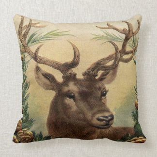 Vintage Deer Buck Stag Nature Rustic Christmas Throw Pillow