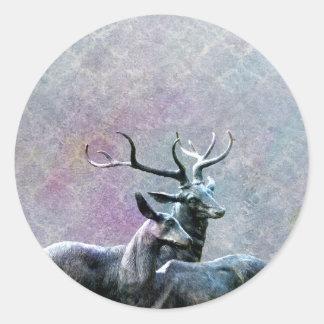 Vintage Deer Classic Round Sticker