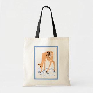 Vintage Deer Folk Art Tote Bag