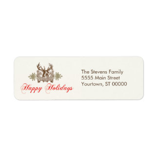 Vintage Deer Head Classic Holiday Greeting Custom Return Address Label