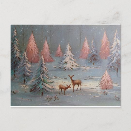 Pink Christmas Trees.Vintage Deer In Snowy Forest Pink Christmas Trees Holiday Postcard