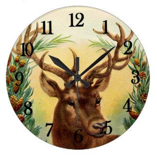 Vintage Deer Large Clock