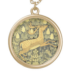 Vintage Deer Rabbit Chestnut Tree 1902 Gold Plated Necklace at Zazzle