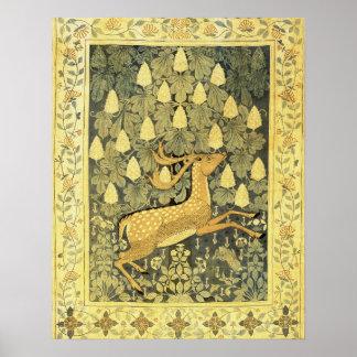 Vintage Deer Rabbit Chestnut Tree 1902 Poster