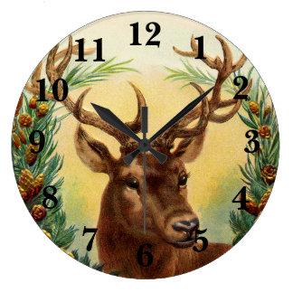 Vintage Deer Rustic Large Clock