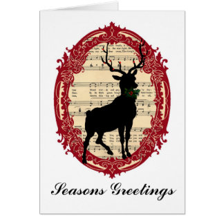 Vintage Deer Seasons Greetings Christmas Card