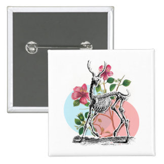 Vintage Deer Skeleton And Flowers Pinback Button