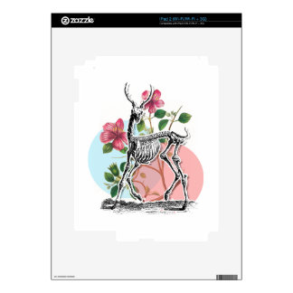 Vintage Deer Skeleton And Flowers Skin For iPad 2