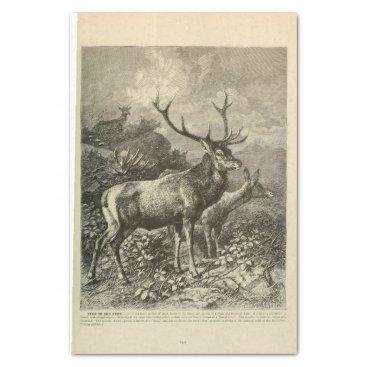 Vintage Deer Stag Ephemera Decoupage Tissue Paper