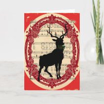 Vintage Deer with Holly Christmas Card