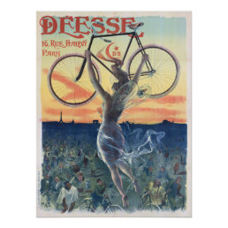 Vintage Deesse Cycles Bicycle Ad Art Poster Girl