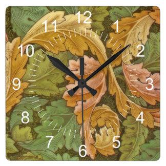 Vintage del Acanthus de William Morris floral Reloj Cuadrado