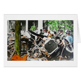 Vintage del accidente de la ruina del coche de la tarjeta de felicitación