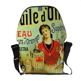 Vintage del aceite de oliva del Viejo Mundo retro Bolsa De Mensajeria