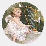 """Vintage del """"ángel y de la arpa"""" etiquetas redondas"""
