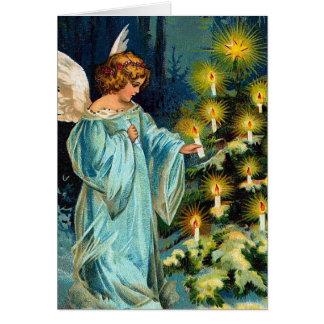 """Vintage del """"ángel y del árbol de navidad"""" tarjeta"""