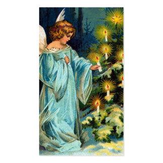"""Vintage del """"ángel y del árbol de navidad"""" tarjetas de visita"""