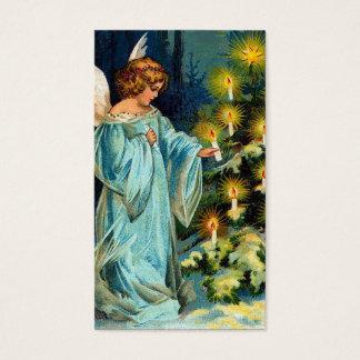"""Vintage del """"ángel y del árbol de navidad"""" tarjeta de negocios"""