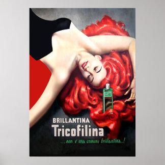 Vintage del art déco - Redhead Brillantina Póster