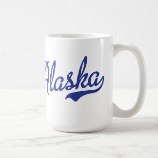 VINTAGE del azul de la escritura de Alaska Taza Básica Blanca