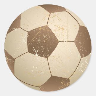 vintage del balón de fútbol pegatina redonda