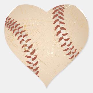 vintage del béisbol pegatina en forma de corazón