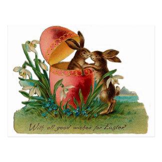 Vintage del beso del conejito de pascua tarjetas postales