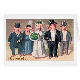 """Vintage """"del boda del cerdo"""" tarjeta de felicitación"""