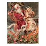 vintage del caballo mecedora de santa postal