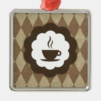 vintage del café adorno cuadrado plateado
