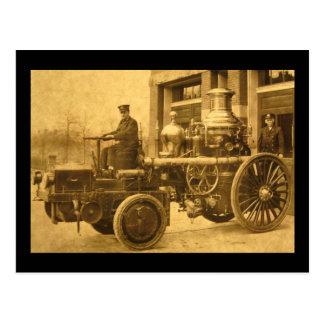 Vintage del camión de la autobomba del coche de tarjetas postales