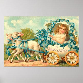Vintage del carro del huevo de Pascua floral Póster