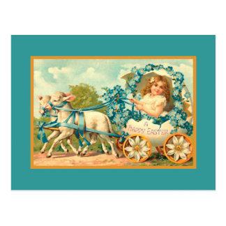 Vintage del carro del huevo de Pascua floral Tarjetas Postales