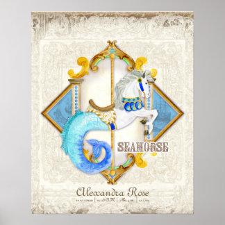 Vintage del carrusel del Seahorse de la fantasía d Póster