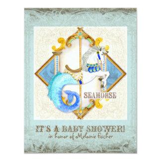 """Vintage del carrusel del Seahorse de la fantasía Invitación 4.25"""" X 5.5"""""""