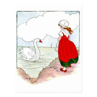 Vintage del cisne la mamá ganso real postal