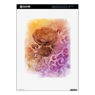 Vintage del color de agua del arco iris subió iPad 3 pegatina skin