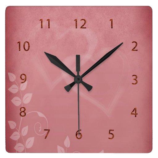 Vintage del color de Borgoña Reloj Cuadrado